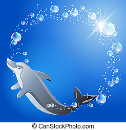 Dolphin and bubbles - Dolphin swims in the water with air...