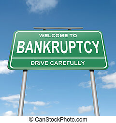 Bankruptcy concept - Illustration depicting a green roadsign...