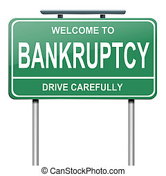 Bankruptcy concept. - Illustration depicting a green...