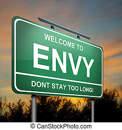 Envy concept - Illustration depicting a green roadsign with...