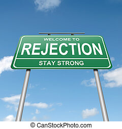 Rejection concept. - Illustration depicting a green roadsign...