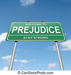 Prejudice concept - Illustration depicting a green roadsign...