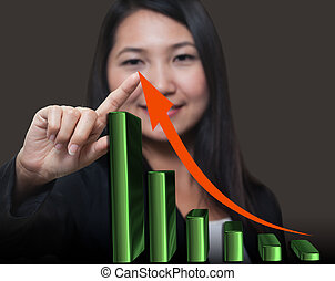 Business woman touching growthing arrow , Business success...