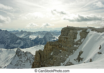 Dolomites landscape View on mountain range from the point...