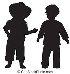 Silhouettes of kids - Silhouettes of two small boys