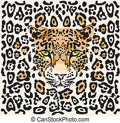 Pattern with a muzzle of a leopard isolated on white...