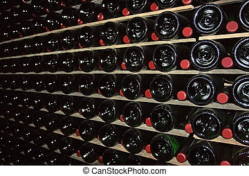 Cellar for sparkling wine - Wine cellar is immersed in...