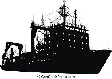 Ship silhouette - Soviet russian heavy lifting ship detailed...