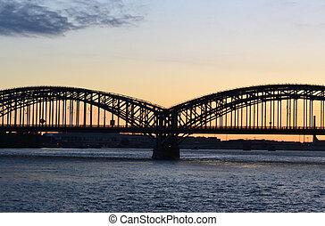 Neva river and Finnish railway bridge at sunset - View of...
