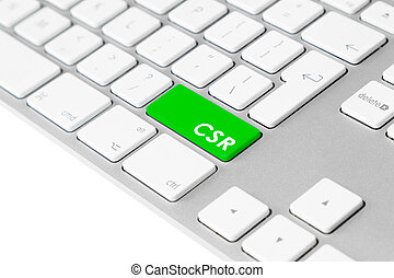 Computer keyboard with green CSR button