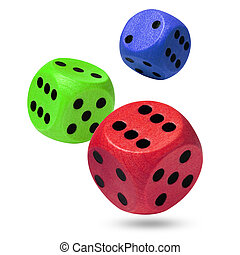Three wooden rolling dices
