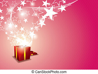 Gift box with star floating