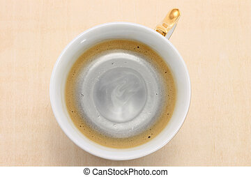 Cup of black coffee from above