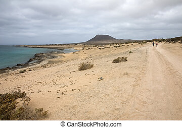 La Graciosa, Canary Islands - Walking towards Monta�a...