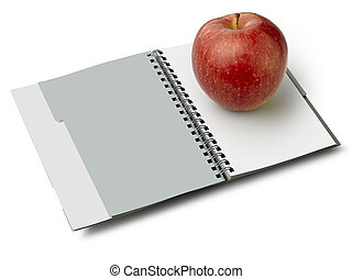 Blanco with apple (clipping path) - Notebook to spirale.Il...