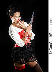 attractive brunette woman with bloody knife - sexy brunette...
