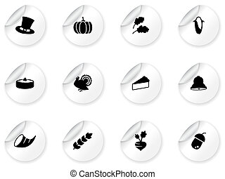 Stickers with thanksgiving icons