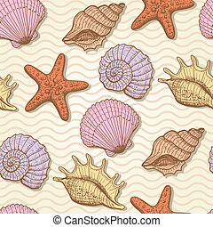 Sea hand drawn seamless pattern - Sea seamless pattern...