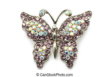 Butterfly brooch on white a background