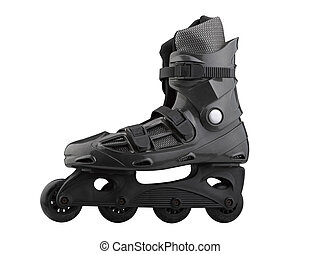 Roller Skates Black and grey isolated on white clipping path...
