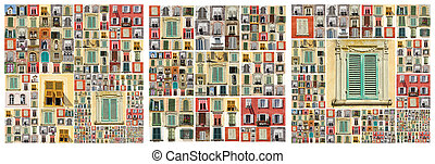 abstract facade with many windows - compositions with many...