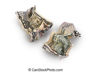 crumpled fifty dollar bill isolated, clipping path