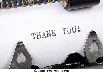 Thank you - Typewriter close up shot, concept of Thank you