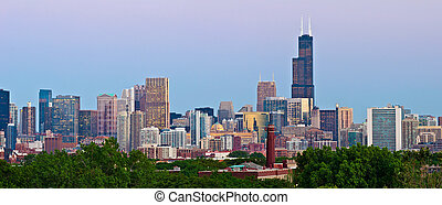 Chicago Skyline - Panoramic image of Chicago downtown at...