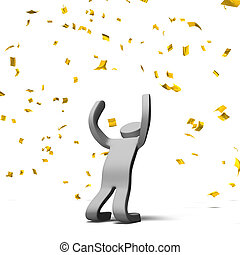 VictoryPosePersonWithGoldConfetti - Victory Pose Person With...