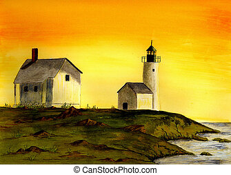 Curtis Island Lighthouse - Watercolor Painting of the Curtis...