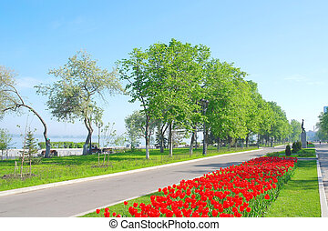View on quay in the city Samara