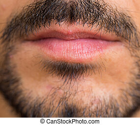 Goatee - Caucasian man Goatee closeup, focus on mustache