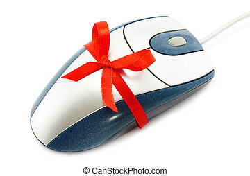 Computer mouse with red bow on a white background