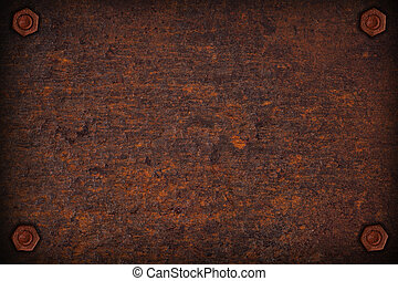 rust plate background with four screws in corners