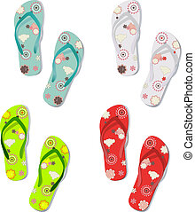 Set of colorful fun flip flops - Vector set of colorful fun...