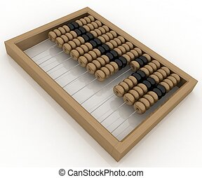 Close-up of wooden abacus on white background