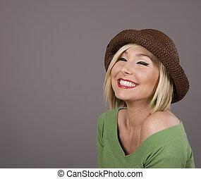 Blonde in Brown Hat Eyes Closed Smiling