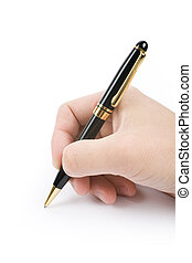 writing - hand holding a pen, writing document