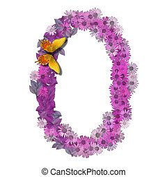numeral or number 0 forms pink daisy color