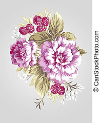 hand drawn flower 7068 - hand drawn Old styled Peony bouquet...