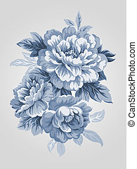 hand drawn flower 7067 - hand drawn China Blue Peony bouquet...