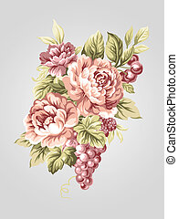 hand drawn flower 7066 - hand drawn Old styled Peony bouquet...