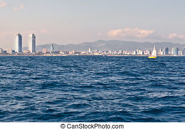 Barcelona coastline seen from the sea