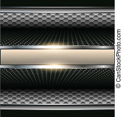 Background 3d metallic with banner for text.