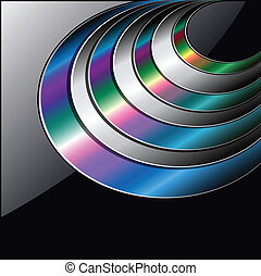 Abstract background colorful circles over black.