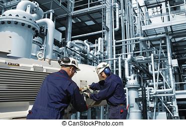 refinería, trabajadores, industria