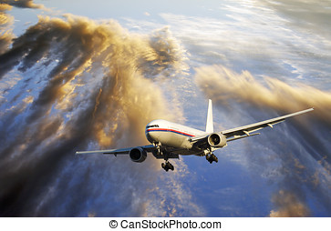 airliner flying into sunset - airliner flying high above...