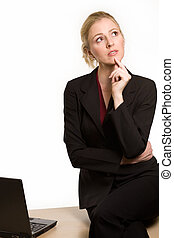 Office woman - Attractive blond hair woman wearing business...