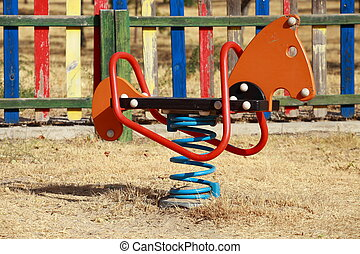Playgrounds wooden horse and moto