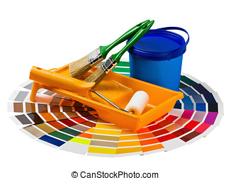 plastic can with paint, roller, brushes and bright palette...